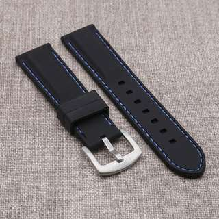 [20/22mm] BLACK with BLUE STITCH SILICONE STRAPOSTITCH STRAP