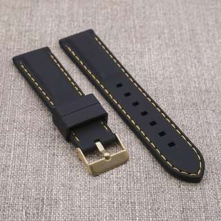 [20/22mm] BLACK with GOLD STITCH SILICONE STRAPOSTITCH STRAP