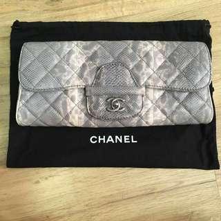08c7f1e578e3 Authentic Chanel Python-like Calf Skin Clutch Bag