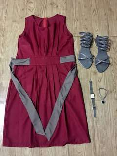 Red maroon dress