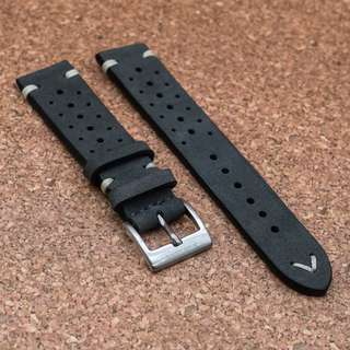 [20/22mm] SLATE GREY RALLY LEATHER STRAPOLEATHER STRAP