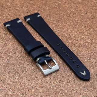 [20/22mm] MIDNIGHT BLUE VINTAGE LEATHER STRAPOLEATHER STRAP