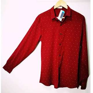 BYGEN Men's Longsleeve Red with small prints - Small