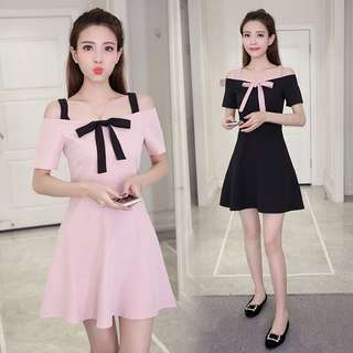 [PO] Off Shoulder Dress with Ribbon in Pink and Black
