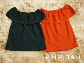 Frilled off-the-shoulder (army green, red, peach)