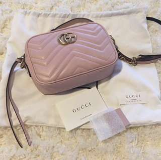Gucci GG Marmont Matelasse Baby Pink GHW Mini Camera Bag