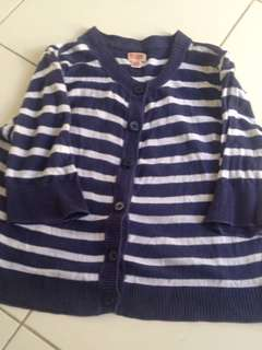 White and blue stripes cardigan top