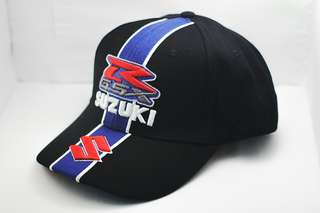 Motorsport Embroidery Suzuki Cap Cotton Breathable Adjustable Unisex Sport - ( Black )