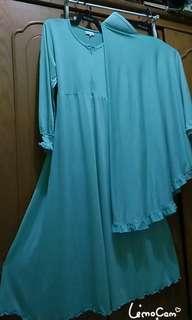 Gamis jersey tebal+ jilbab panjang