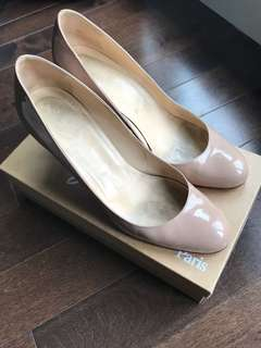Christian Louboutin simple pump nude heels