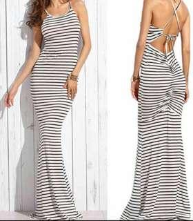 100800氣質黑白條紋修身吊帶露背美背連身長洋裝#一百元好物