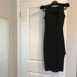 Black slim side slit evening dress