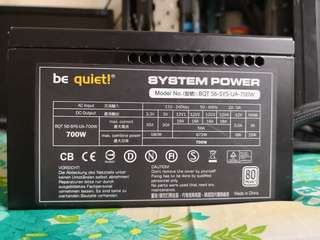 Be Quiet 700 WATTS  80Plus power supply