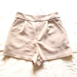 [Forever21] Beige Sleek Tailored Shorts.