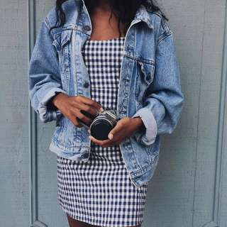🚚 Instock! - BNIP Black x White Gingham Monochrome Spaghetti Strap A Line Dress // Brandy Melville Inspired Karla Dress