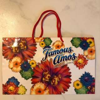 Famous Amos Floral Paper Bag