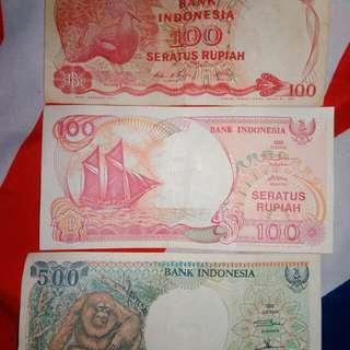 Uang lama 500 dan 100