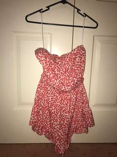 Playsuit - red and white pattern