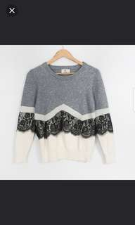 Korean Gray with Lace Sweater Top