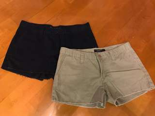 American Eagle Khaki/Navy Blue Denim Shorts 卡其/深藍色牛仔短褲 $50@1