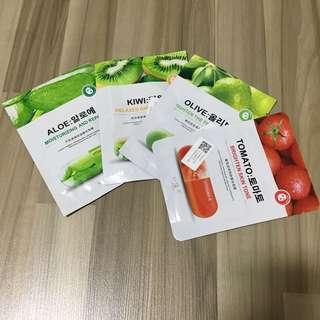 [BUNDLE OF 4] Assorted Fruits Vitamins Face Masks