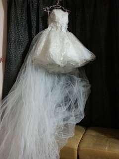 Short wedding white gown
