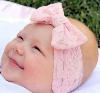 Baby Girl Lace Headband (Light Pink)
