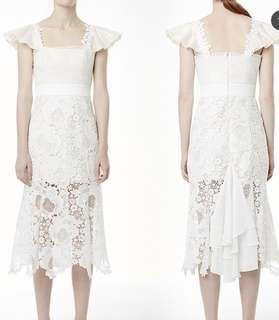 Crochet lace asymmetrical hem dress