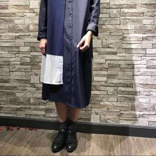Navy designer one piece dress