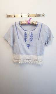 Light Blue Top With Lace
