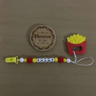 Customized Pacifier Clip/ toy holder + French fries silicone teether