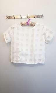 White Checkered See Through Blouse