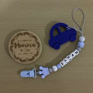 Customized Silicone Pacifier Clip/ toy holder + car silicone teether