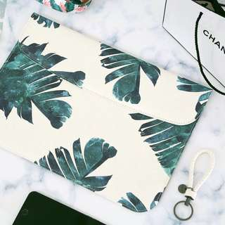 INSTOCK: Clean Green Tropical Palm Leaves Macbook Laptop Sleeve Case