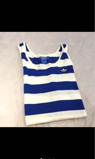 Adidas originals 藍白條紋無袖上衣s
