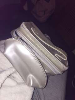 Silver makeup bag set