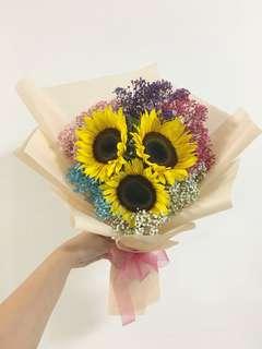 Sunflower Bouquet with Rainbow Baby Breath / Anniversary Bouquet / Birthday Flowers / Graduation Bouquet