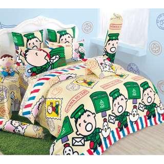 Yes Zone 卡通精品 大口仔 大寶 Minna No Tabo sanrio 正版 單人/雙人 三件套床笠純棉被套四件套床單
