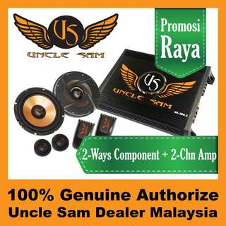 "Uncle Sam 2-Channel Amplifier + 6.5"" Component Speaker"
