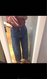🚚 Bershka韓國購入超好看牛仔寬褲