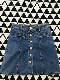 🎟 Button Up Denim Skirt
