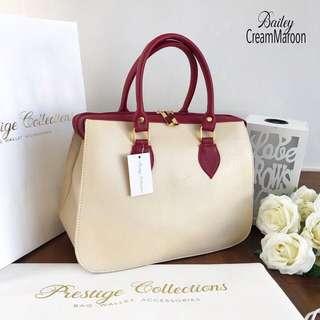 Bailey Handbag Cream Maroon