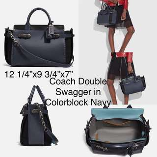 Coach double swagger in colorblock navy