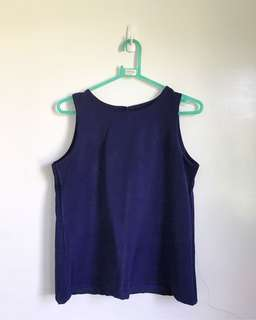 Sleeveless Blue Top (Thick material)