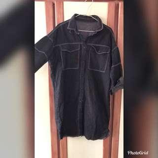 🚚 長版黑牛仔外套