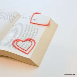 Heart Shaped Bookmark for Bibliophiles