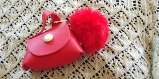 Small Wallet with Fur Ball