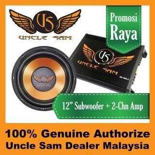 "Uncle Sam 12"" Subwoofer + 2-Channel Amplifier"
