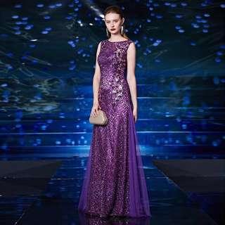 BN Purple Evening Gown Engagement Maxi Dress Wedding dress mesh sequin