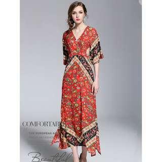 Europe Bohemia High Waist Backless Flowers Vcoation Dress